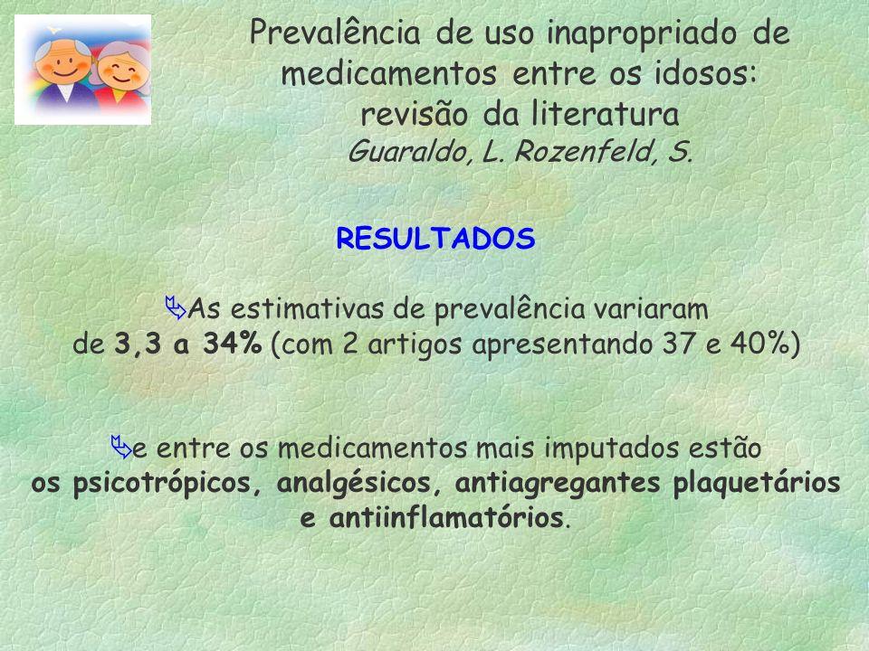 Prevalência de uso inapropriado de medicamentos entre os idosos: revisão da literatura Guaraldo, L. Rozenfeld, S. RESULTADOS As estimativas de prevalê