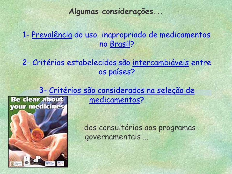 1- Prevalência do uso inapropriado de medicamentos no Brasil? 2- Critérios estabelecidos são intercambiáveis entre os países? 3- Critérios são conside