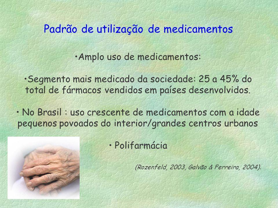 Amplo uso de medicamentos: Segmento mais medicado da sociedade: 25 a 45% do total de fármacos vendidos em países desenvolvidos. No Brasil : uso cresce