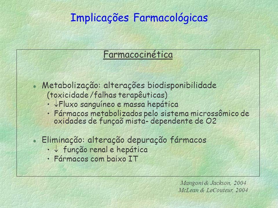 Farmacocinética l Metabolização: alterações biodisponibilidade (toxicidade /falhas terapêuticas) Fluxo sanguíneo e massa hepática Fármacos metabolizad