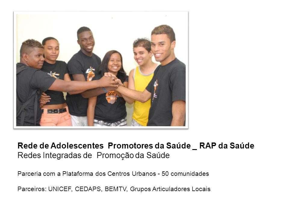Rede de Adolescentes Promotores da Saúde _ RAP da Saúde Redes Integradas de Promoção da Saúde Parceria com a Plataforma dos Centros Urbanos - 50 comun