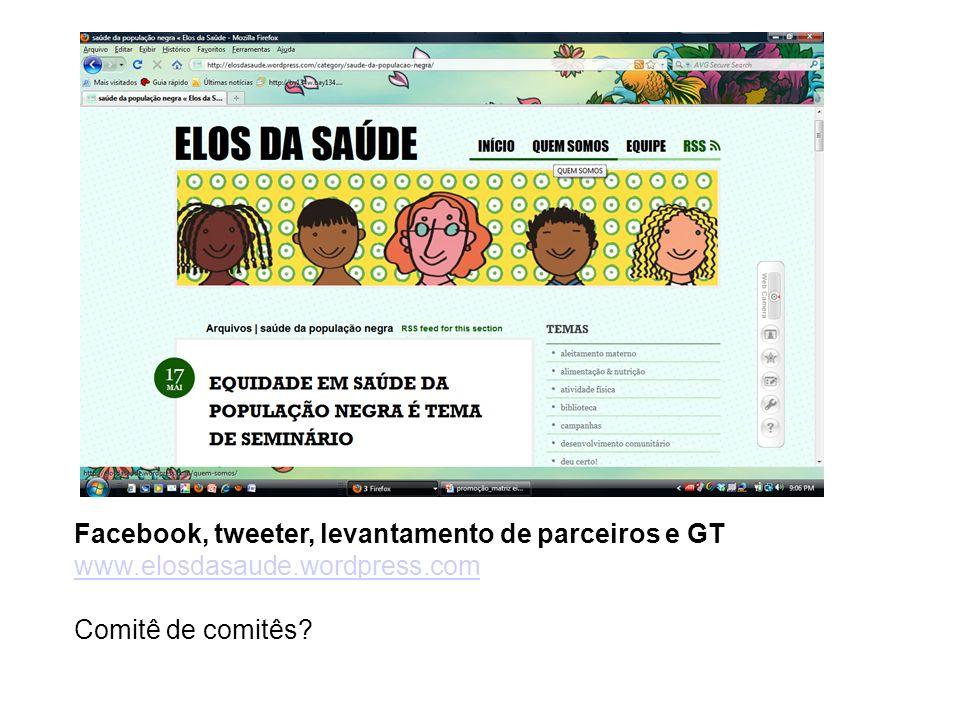 Facebook, tweeter, levantamento de parceiros e GT www.elosdasaude.wordpress.com Comitê de comitês?