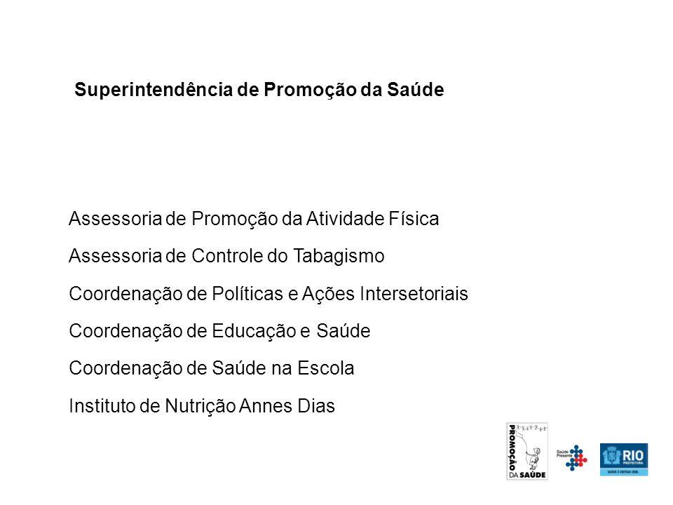 Assessoria de Promoção da Atividade Física Assessoria de Controle do Tabagismo Coordenação de Políticas e Ações Intersetoriais Coordenação de Educação