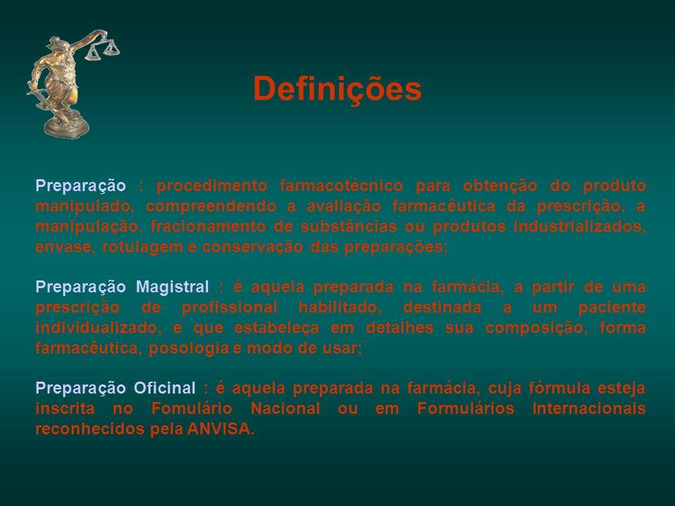 Definições Preparação : procedimento farmacotécnico para obtenção do produto manipulado, compreendendo a avaliação farmacêutica da prescrição, a manip