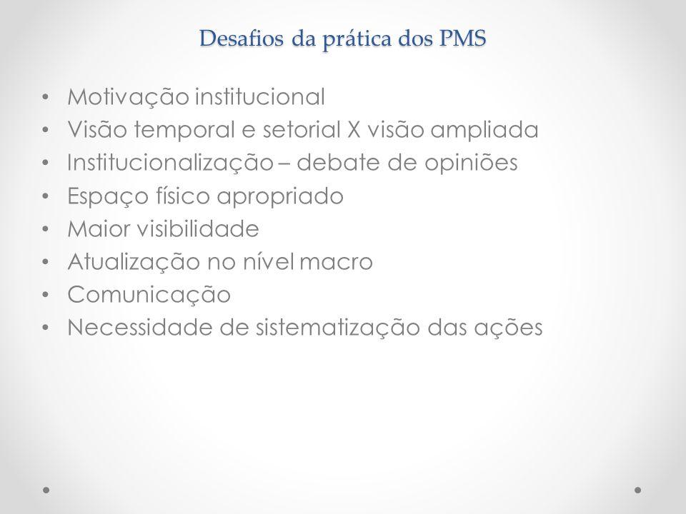 Desafios da prática dos PMS Motivação institucional Visão temporal e setorial X visão ampliada Institucionalização – debate de opiniões Espaço físico