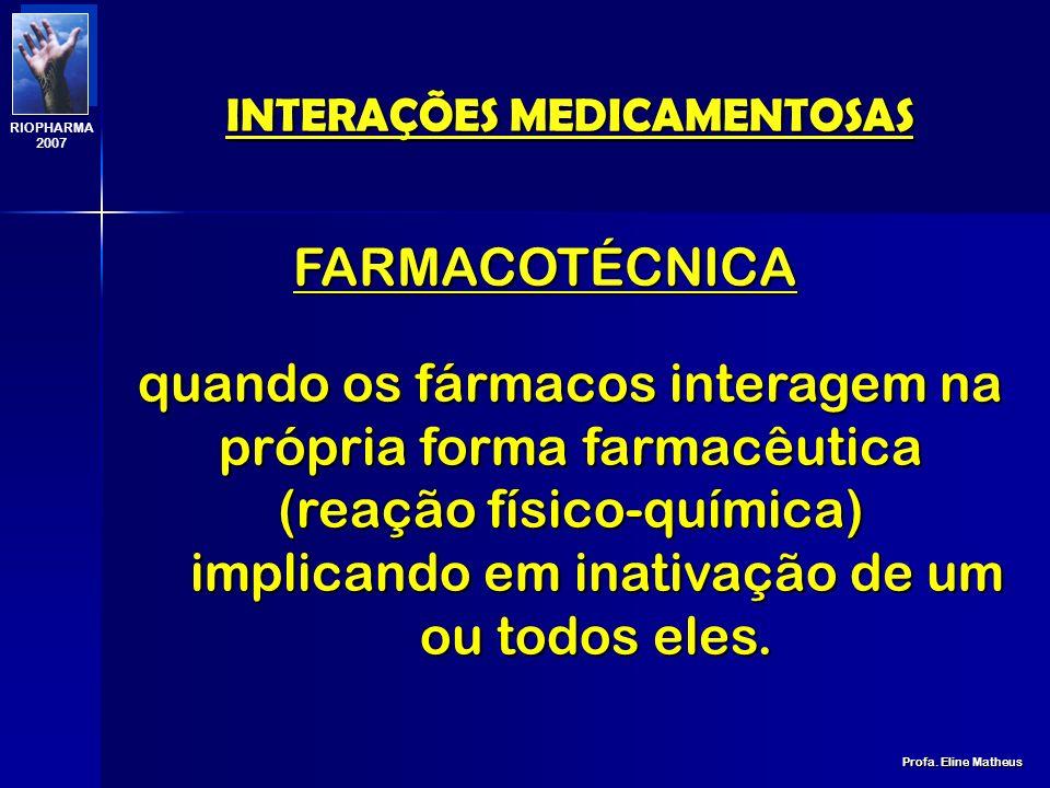 INTERAÇÕES MEDICAMENTOSAS Profa. Eline Matheus RIOPHARMA 2007 TIPOS DE INTERAÇÕES 1.FARMACOTÉCNICA 2.FARMACOCINÉTICA 3.FARMACODINÂMICA