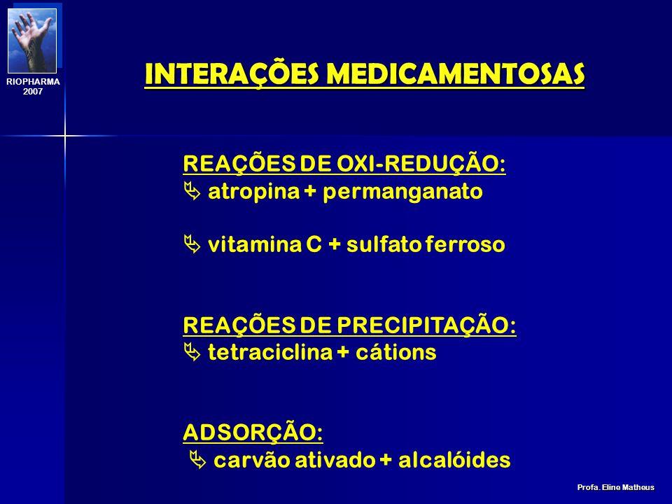 INTERAÇÕES MEDICAMENTOSAS Profa. Eline Matheus RIOPHARMA 2007 quando os fármacos interagem na própria forma farmacêutica (reação físico-química) impli