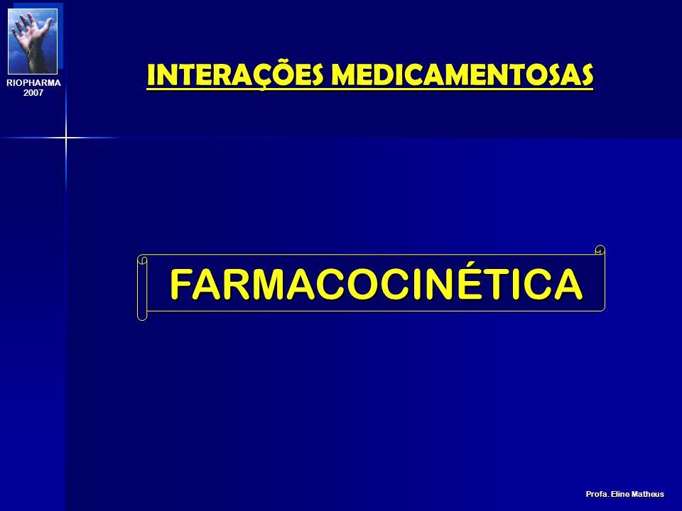 INTERAÇÕES MEDICAMENTOSAS Profa. Eline Matheus RIOPHARMA 2007 FARMACODINÂMICA quando um fármaco ALTERA A AÇÃO FARMACOLÓGICA de outro sem alterar sua c