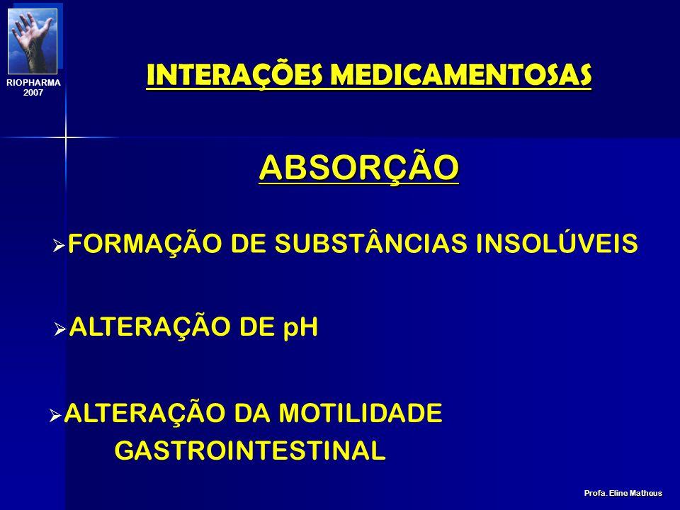 INTERAÇÕES MEDICAMENTOSAS Profa. Eline Matheus RIOPHARMA 2007 ABSORÇÃO DISTRIBUIÇÃO BIOTRANSFORMAÇÃO EXCREÇÃO ETAPAS