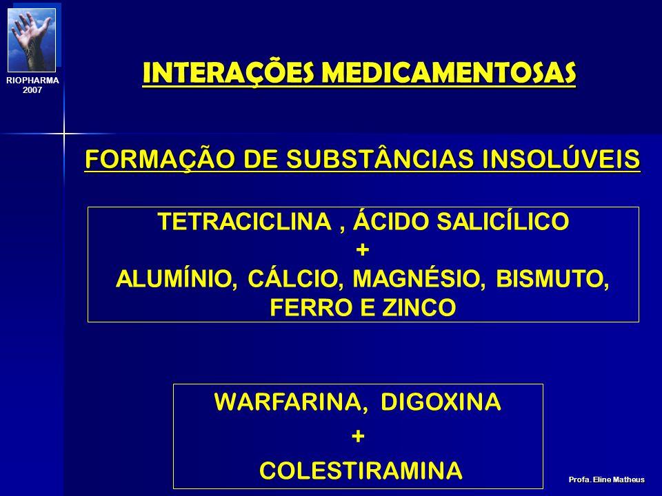 INTERAÇÕES MEDICAMENTOSAS Profa. Eline Matheus RIOPHARMA 2007 ABSORÇÃO ALTERAÇÃO DA MOTILIDADE GASTROINTESTINAL FORMAÇÃO DE SUBSTÂNCIAS INSOLÚVEIS ALT