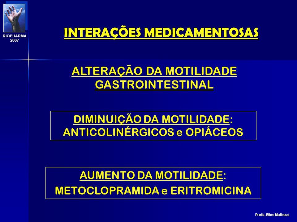 INTERAÇÕES MEDICAMENTOSAS Profa. Eline Matheus RIOPHARMA 2007 ESTÔMAGO AINEs, BARBITÚRICOS + ANTI-ÁCIDOS (-) ANFETAMINAS, EFEDRINA E QUINIDINA + ANTI-