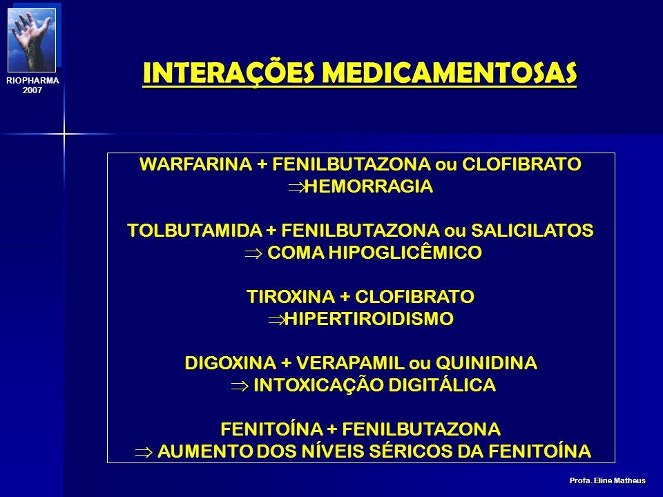 INTERAÇÕES MEDICAMENTOSAS Profa. Eline Matheus RIOPHARMA 2007 VOLUME DE DISTRIBUIÇÃO (Vd) 1. Fármacos confinados ao compartimento plasmático: O volume