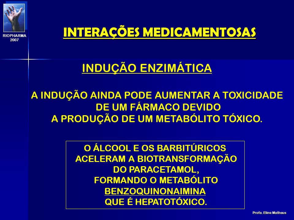 INTERAÇÕES MEDICAMENTOSAS Profa. Eline Matheus RIOPHARMA 2007 ENZIMAPOLIMORFISMOSUBSTRATOSINIBIDORESINDUTORESCYP2E1-ParacetamolÁlcoolIsoniazida Álcool
