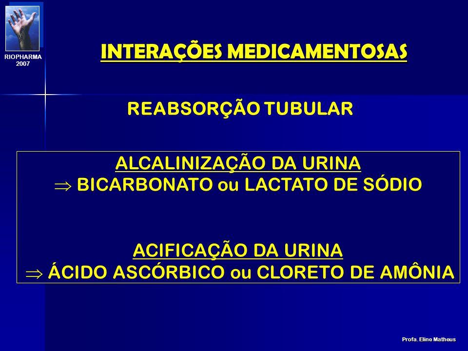 INTERAÇÕES MEDICAMENTOSAS Profa. Eline Matheus RIOPHARMA 2007 DROGA PENICILINA INDOMETACINA CEFALOSPORINAS DIGOXINA ÁCIDO NALIDÍXICO INIBIDOR PROBENIC