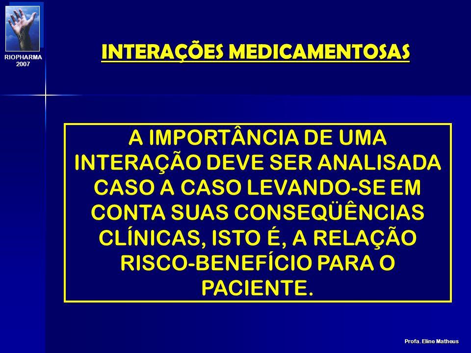 INTERAÇÕES MEDICAMENTOSAS Profa. Eline Matheus RIOPHARMA 2007 INTERAÇÃO MEDICAMENTOSA É O FENÔMENO FARMACOLÓGICO ONDE OS EFEITOS DE UM FÁRMACO PODEM S