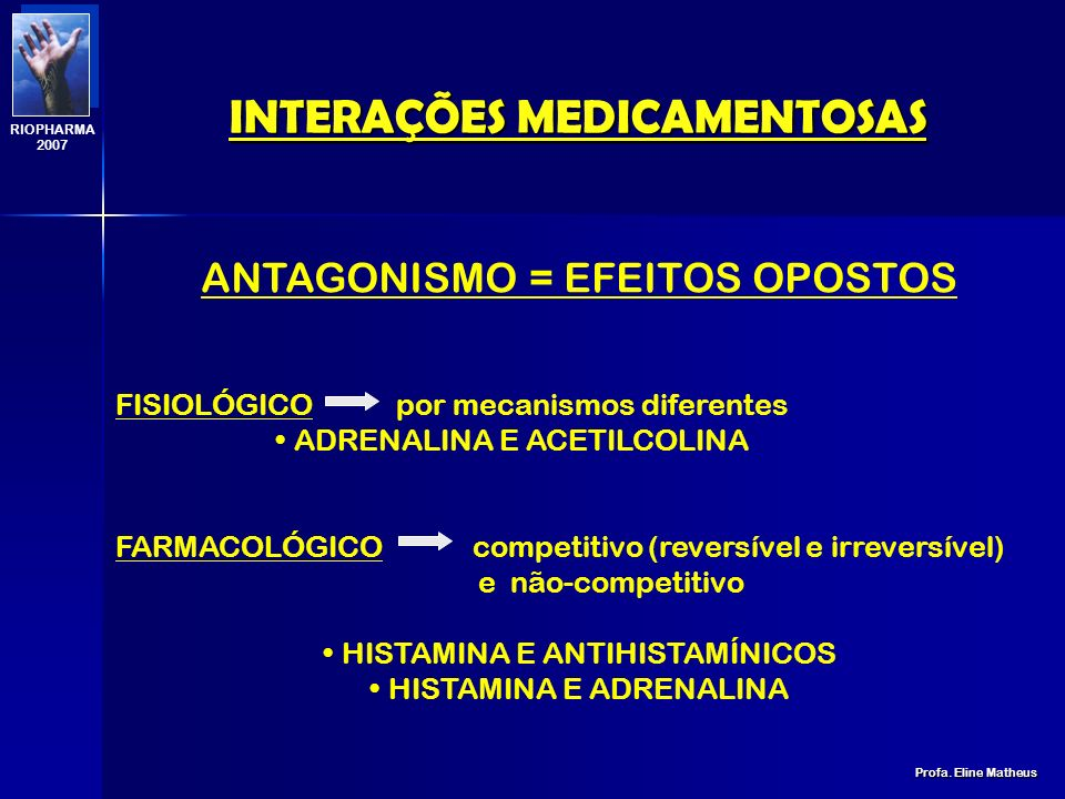 INTERAÇÕES MEDICAMENTOSAS Profa. Eline Matheus RIOPHARMA 2007 ANTIPARKINSONIANOS, ANTIDEPRESSIVOS TRICÍCLICOS, ANTIPSCÓTICOS ÁLCOOL, ANTIEMÉTICOS, ANT