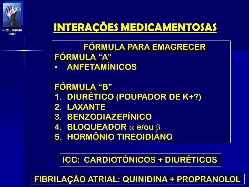 INTERAÇÕES MEDICAMENTOSAS Profa. Eline Matheus RIOPHARMA 2007 FÁRMACO A SULFONAMIDAS BRONCODILATADOR BARBITÚRICOS E BENZODIAZEPÍNICO HIPNÓTICOS PILOCA