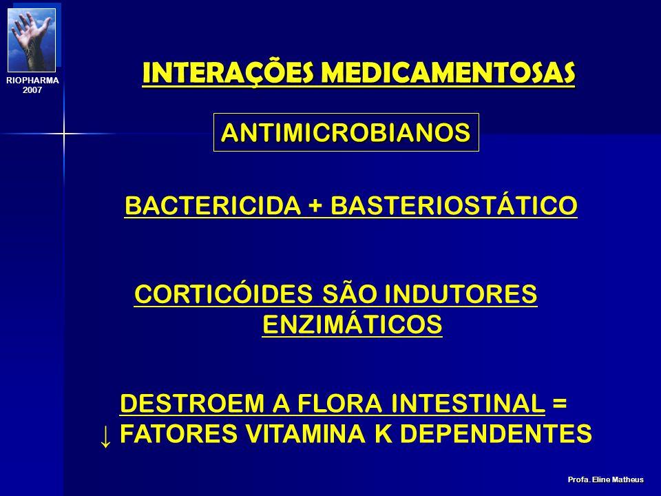 INTERAÇÕES MEDICAMENTOSAS Profa. Eline Matheus RIOPHARMA 2007 FIBRILAÇÃO ATRIAL: QUINIDINA + PROPRANOLOL FÓRMULA PARA EMAGRECER FÓRMULA A ANFETAMÍNICO