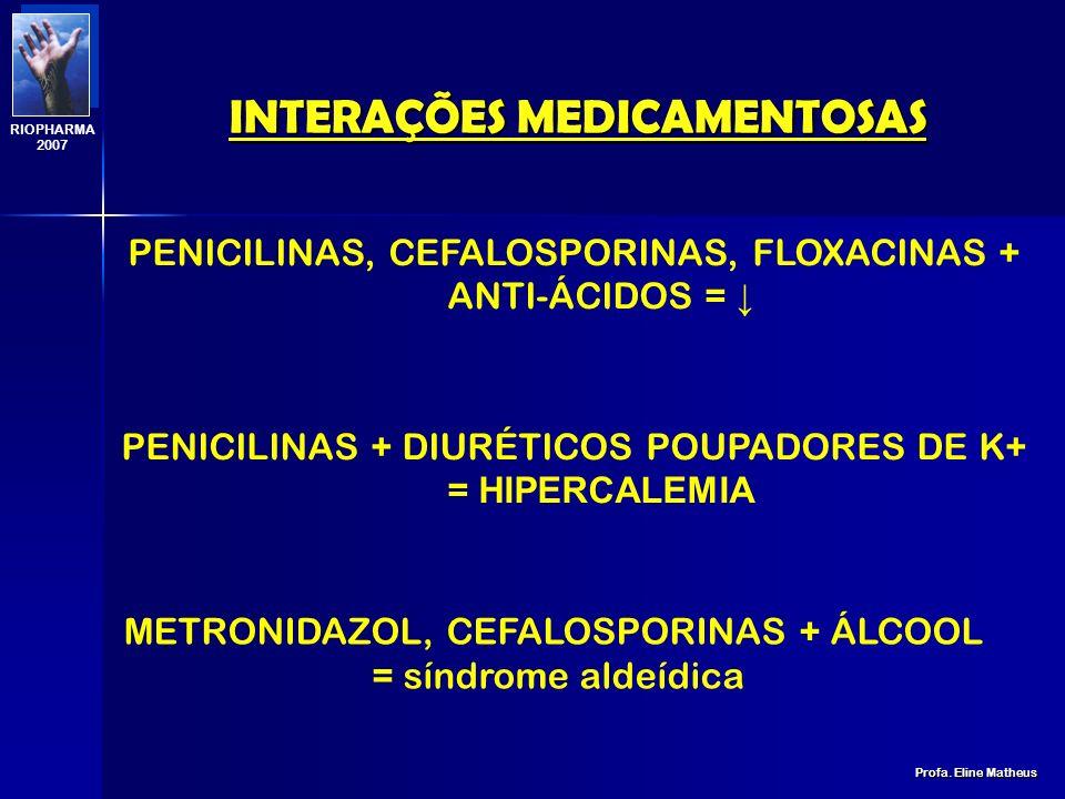 INTERAÇÕES MEDICAMENTOSAS Profa. Eline Matheus RIOPHARMA 2007 ANTIMICROBIANOS BACTERICIDA + BASTERIOSTÁTICO CORTICÓIDES SÃO INDUTORES ENZIMÁTICOS DEST