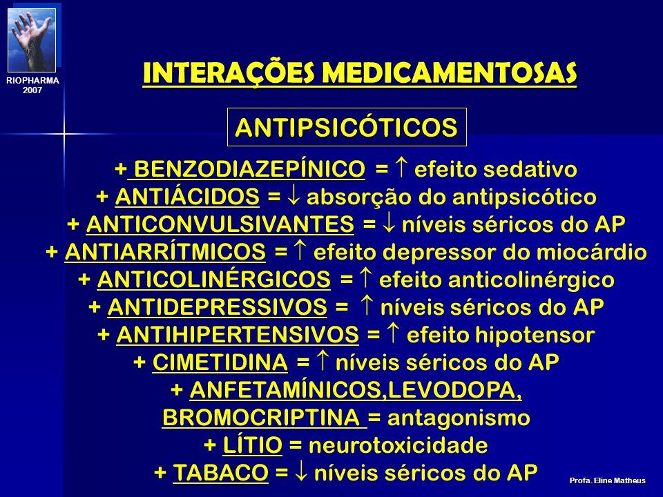 INTERAÇÕES MEDICAMENTOSAS Profa. Eline Matheus RIOPHARMA 2007 PENICILINAS, CEFALOSPORINAS, FLOXACINAS + ANTI-ÁCIDOS = PENICILINAS + DIURÉTICOS POUPADO