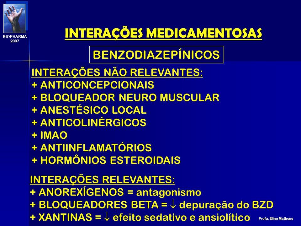 INTERAÇÕES MEDICAMENTOSAS Profa. Eline Matheus RIOPHARMA 2007 + BENZODIAZEPÍNICO = efeito sedativo + ANTIÁCIDOS = absorção do antipsicótico + ANTICONV