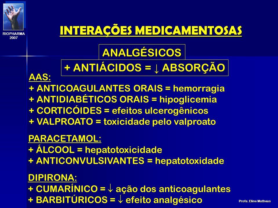 INTERAÇÕES MEDICAMENTOSAS Profa. Eline Matheus RIOPHARMA 2007 BENZODIAZEPÍNICOS INTERAÇÕES NÃO RELEVANTES: + ANTICONCEPCIONAIS + BLOQUEADOR NEURO MUSC