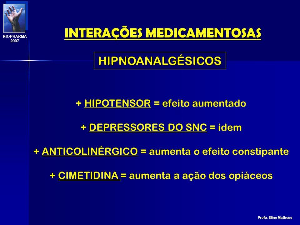 INTERAÇÕES MEDICAMENTOSAS Profa. Eline Matheus RIOPHARMA 2007 ANALGÉSICOS AAS: + ANTICOAGULANTES ORAIS = hemorragia + ANTIDIABÉTICOS ORAIS = hipoglice
