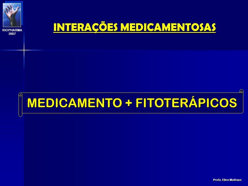 INTERAÇÕES MEDICAMENTOSAS Profa. Eline Matheus RIOPHARMA 2007 ABEFEITO absorção menor [ ] prejudicado distribuição menor [ ] prejudicado biotransforma