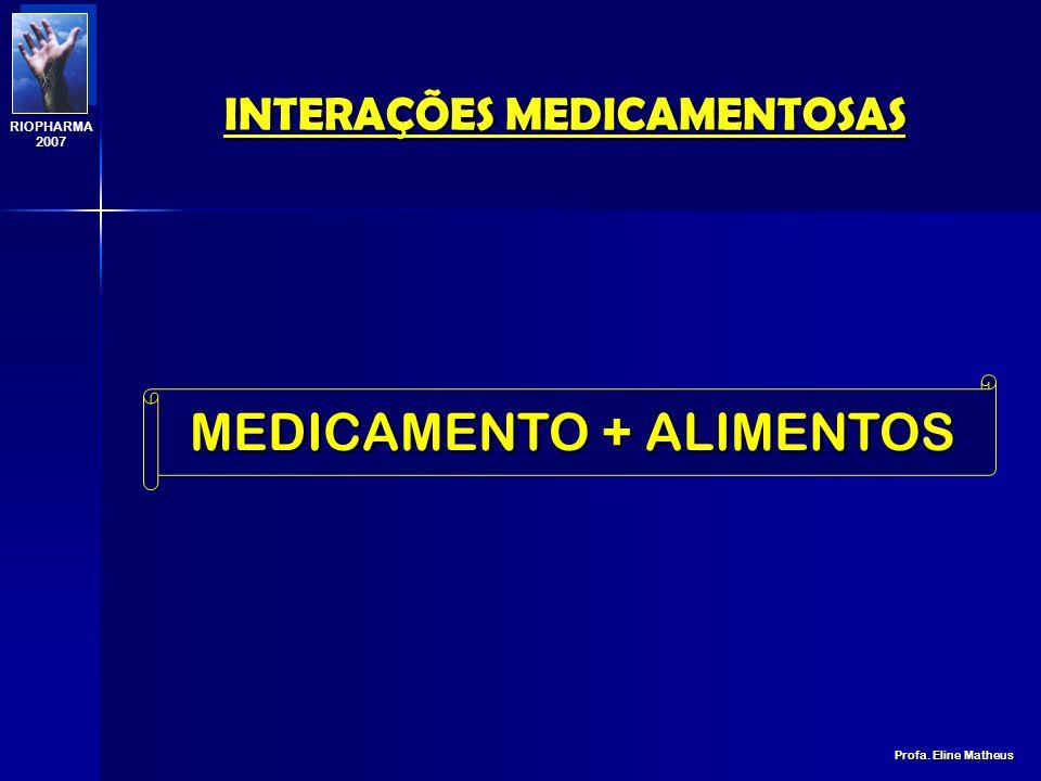 INTERAÇÕES MEDICAMENTOSAS Profa. Eline Matheus RIOPHARMA 2007 Angélica sinésis (dong quai): RICO EM FITOCUMARÍNICOS Ipriflavona: INIBE AS CYPs Hortelã