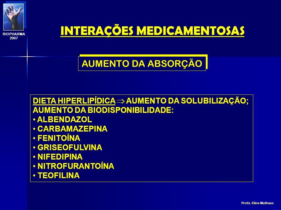 INTERAÇÕES MEDICAMENTOSAS Profa. Eline Matheus RIOPHARMA 2007 DIETA HIPERLIPÍDICA DIMINUIÇÃO DA SOLUBILIZAÇÃO; DIMINUIÇÃO DA BIODISPONIBILIDADE : DIDA
