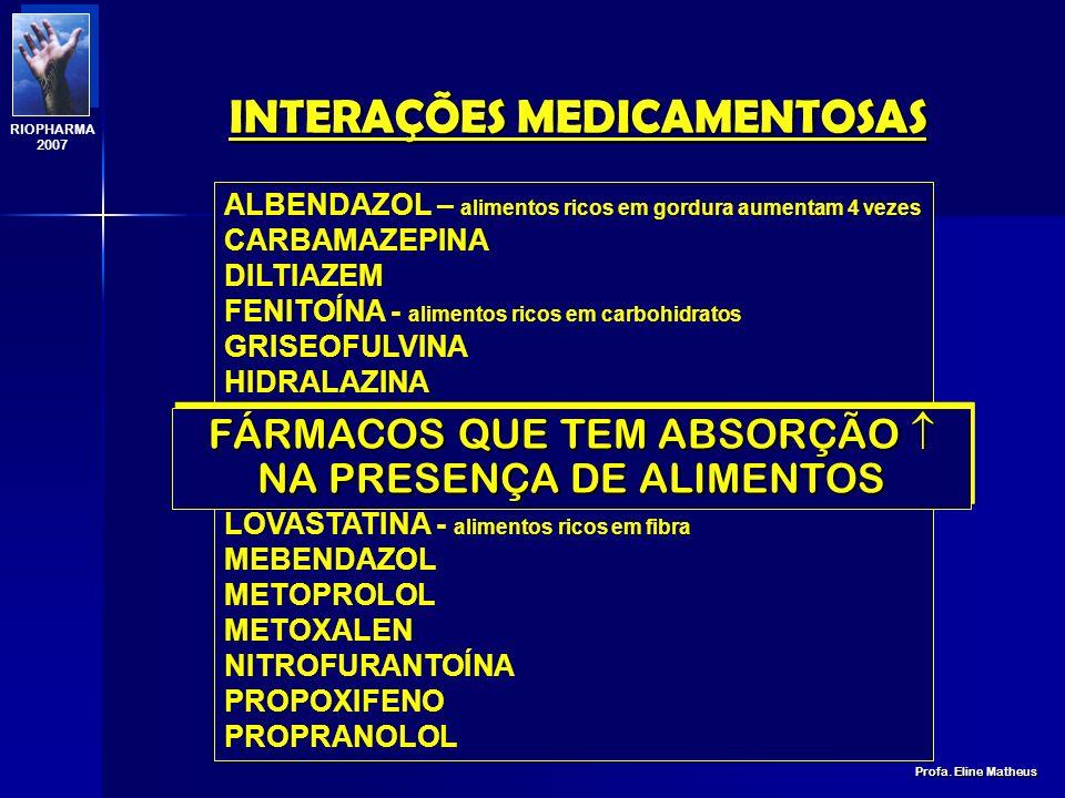 INTERAÇÕES MEDICAMENTOSAS Profa. Eline Matheus RIOPHARMA 2007 DIETA HIPERPROTEÍCA DIMINUIÇÃO DA ELIMINAÇÃO PRÉ-SISTÊMICA; AUMENTO DA BIODISPONIBILIDAD
