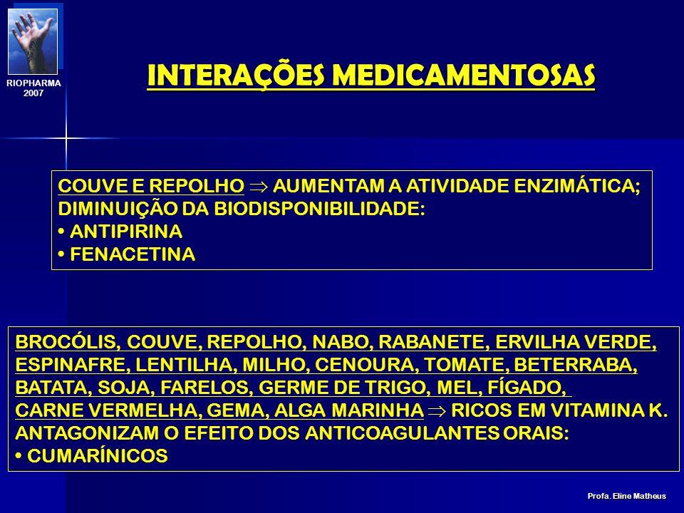 INTERAÇÕES MEDICAMENTOSAS Profa. Eline Matheus RIOPHARMA 2007 DIETA HIPOPROTÉICA E HIPOGLICÍDICA DIMINUIÇÃO DA ATIVIDADE ENZIMÁTICA DA CYP; AUMENTO DA