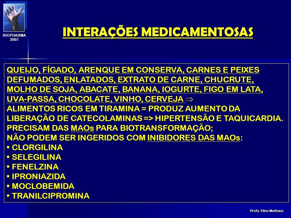 INTERAÇÕES MEDICAMENTOSAS Profa. Eline Matheus RIOPHARMA 2007 COUVE E REPOLHO AUMENTAM A ATIVIDADE ENZIMÁTICA; DIMINUIÇÃO DA BIODISPONIBILIDADE: ANTIP