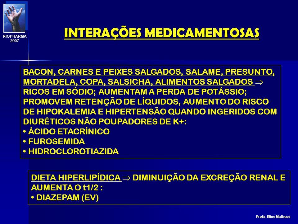 INTERAÇÕES MEDICAMENTOSAS Profa. Eline Matheus RIOPHARMA 2007 DIETA HIPOPROTÉICA DIMINUIÇÃO DA EXCREÇÃO RENAL: ALLOPURINOL BANANA, FIGO, TOMATE, PESSE