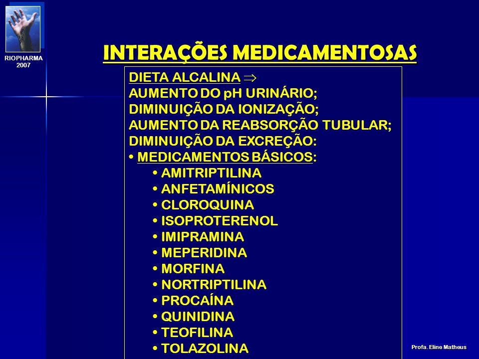 INTERAÇÕES MEDICAMENTOSAS Profa. Eline Matheus RIOPHARMA 2007 DIETA ALCALINA (LEITE E DERIVADOS; VEGETAIS) AUMENTO DO pH URINÁRIO; AUMENTO DA IONIZAÇÃ