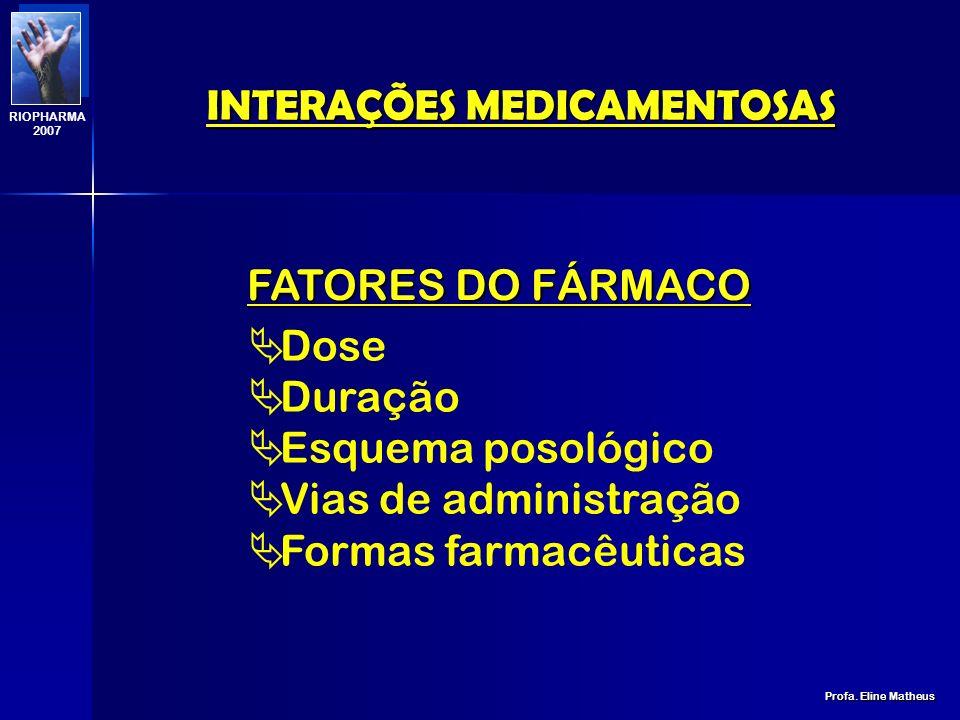 INTERAÇÕES MEDICAMENTOSAS Profa. Eline Matheus RIOPHARMA 2007 FATORES DO PACIENTE Genéticos Doenças Alimentação Meio Fumo Álcool