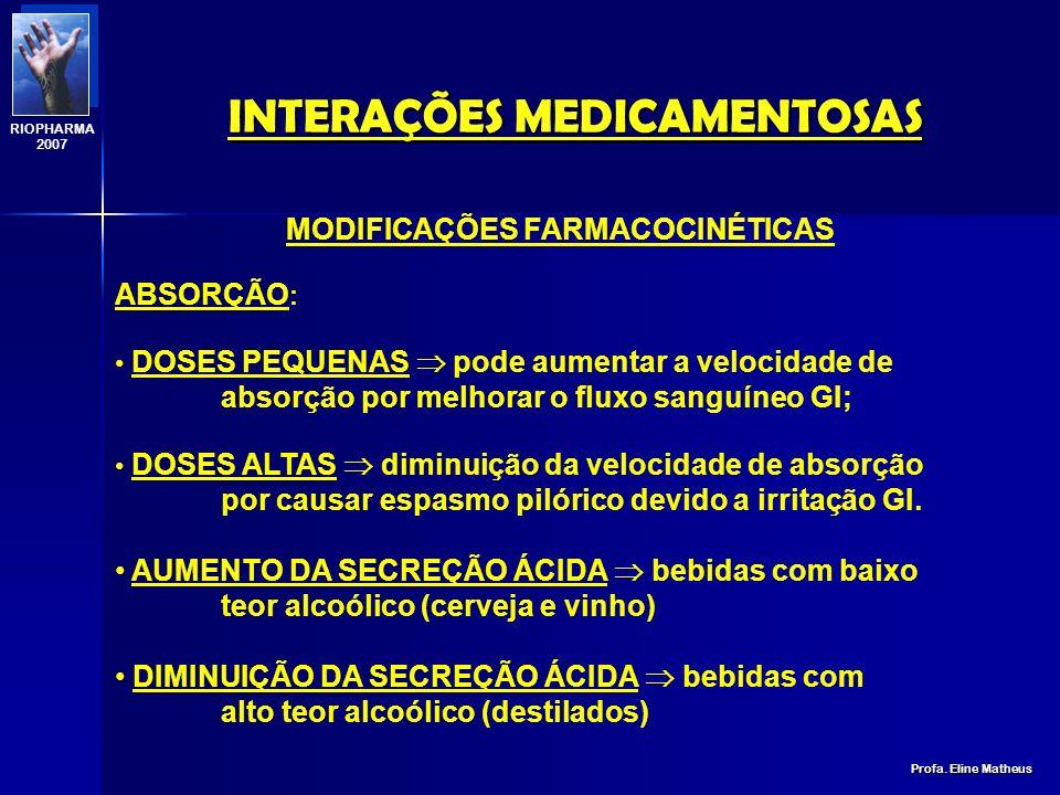 INTERAÇÕES MEDICAMENTOSAS Profa. Eline Matheus RIOPHARMA 2007 MEIAS-VIDAS PLASMÁTICAS DE TRÊS FÁRMACOS EM ALCOOLISTAS CRÔNICOS EM ALCOOLISTAS CRÔNICOS