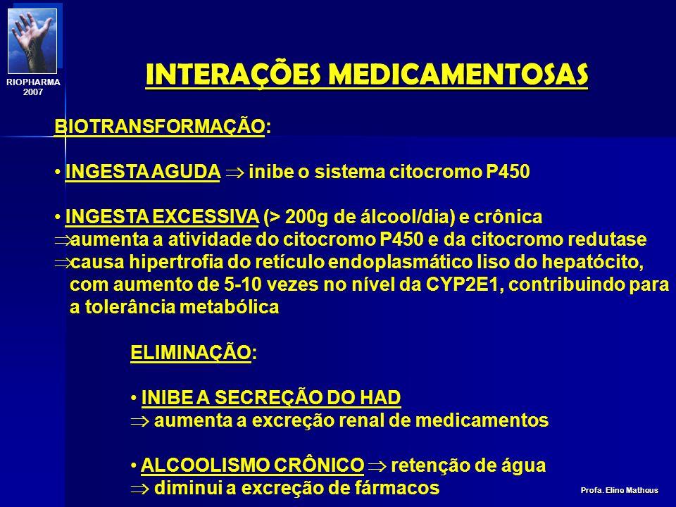 INTERAÇÕES MEDICAMENTOSAS Profa. Eline Matheus RIOPHARMA 2007 DISTRIBUIÇÃO: DIMINUIÇÃO DA TAXA DE ALBUMINA (alcoólico crônico) aumenta o Volume de dis