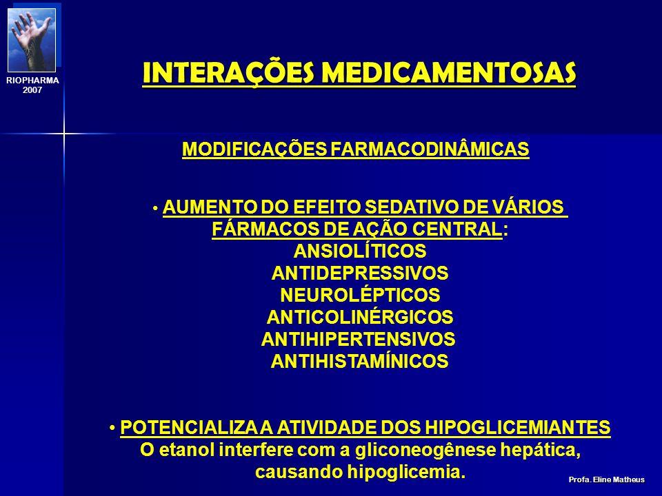 INTERAÇÕES MEDICAMENTOSAS Profa. Eline Matheus RIOPHARMA 2007 BIOTRANSFORMAÇÃO: INGESTA AGUDA inibe o sistema citocromo P450 INGESTA EXCESSIVA (> 200g