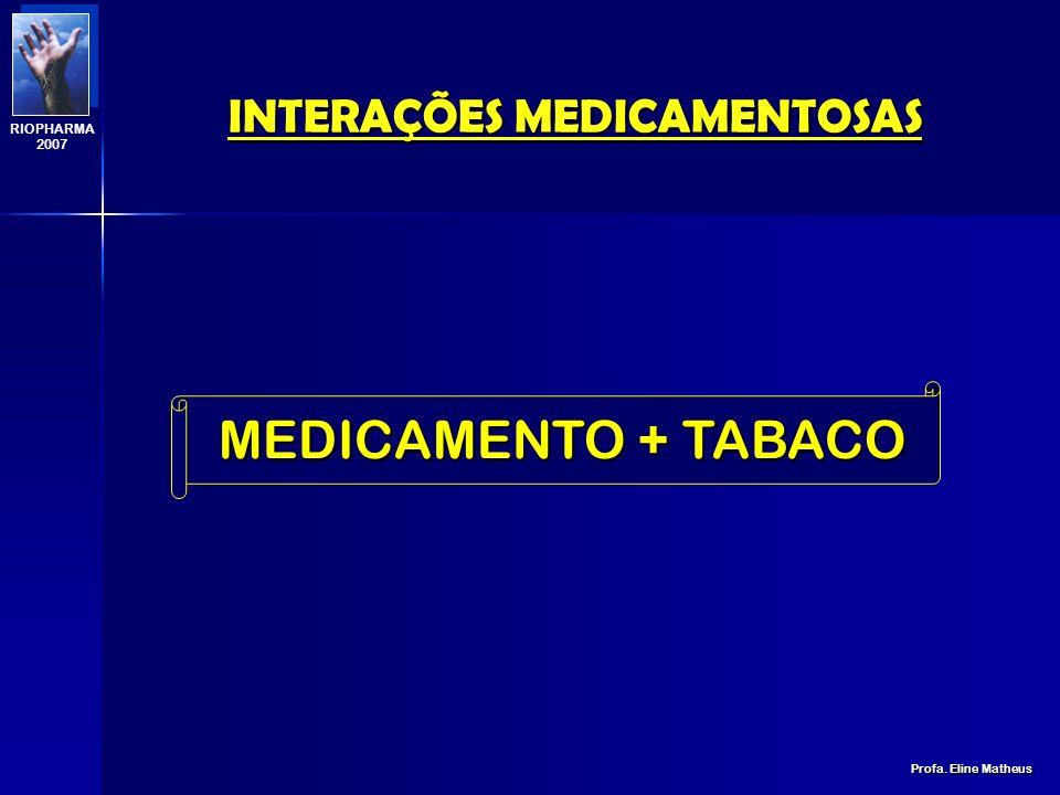 INTERAÇÕES MEDICAMENTOSAS Profa. Eline Matheus RIOPHARMA 2007 MODIFICAÇÕES FARMACODINÂMICAS AUMENTO DO EFEITO SEDATIVO DE VÁRIOS FÁRMACOS DE AÇÃO CENT