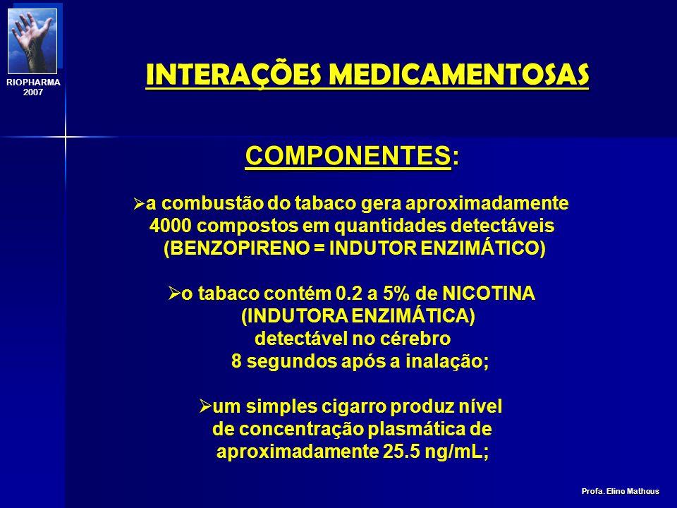INTERAÇÕES MEDICAMENTOSAS Profa. Eline Matheus RIOPHARMA 2007 TABACO Nicotiana tabacum N N CH 3 NICOTINA