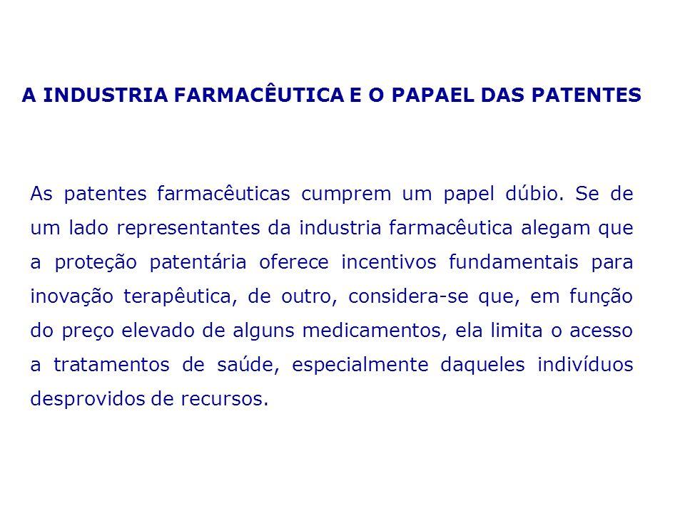 A INDUSTRIA FARMACÊUTICA E O PAPAEL DAS PATENTES As patentes farmacêuticas cumprem um papel dúbio. Se de um lado representantes da industria farmacêut