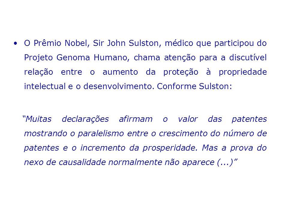 O Prêmio Nobel, Sir John Sulston, médico que participou do Projeto Genoma Humano, chama atenção para a discutível relação entre o aumento da proteção