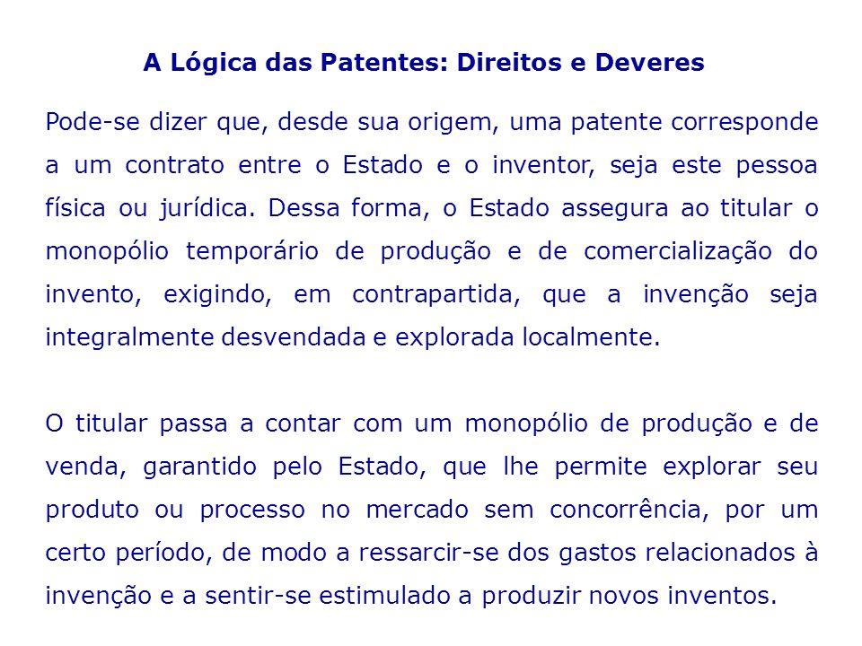 A Lógica das Patentes: Direitos e Deveres Pode-se dizer que, desde sua origem, uma patente corresponde a um contrato entre o Estado e o inventor, seja