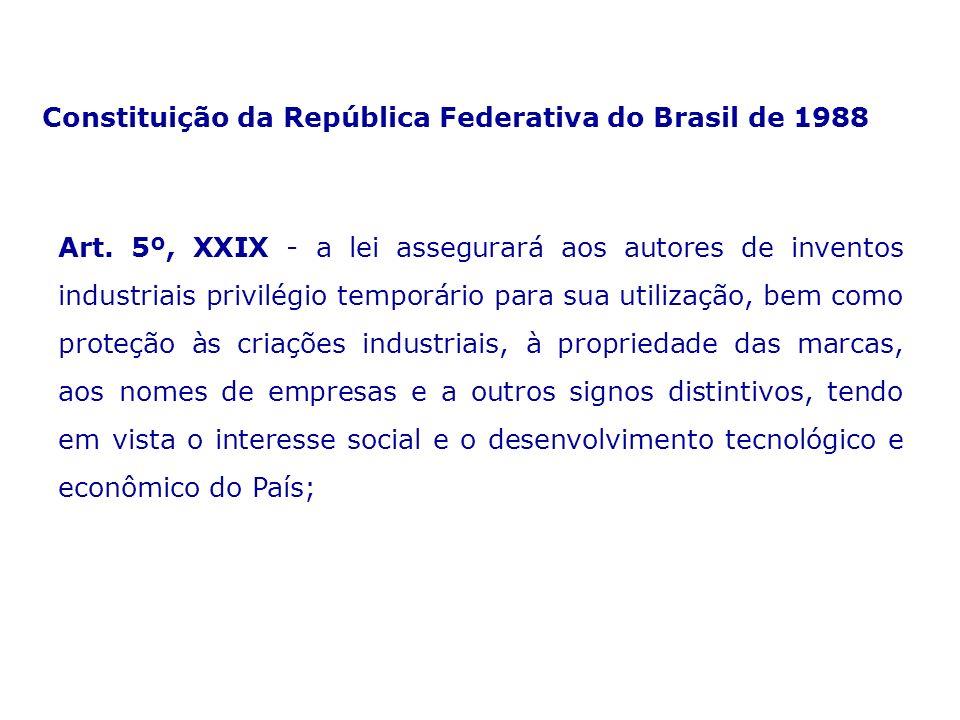 Art. 5º, XXIX - a lei assegurará aos autores de inventos industriais privilégio temporário para sua utilização, bem como proteção às criações industri