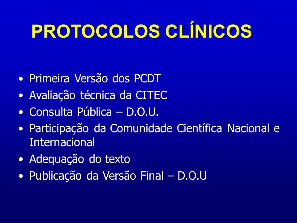 Primeira Versão dos PCDT Avaliação técnica da CITEC Consulta Pública – D.O.U. Participação da Comunidade Científica Nacional e Internacional Adequação