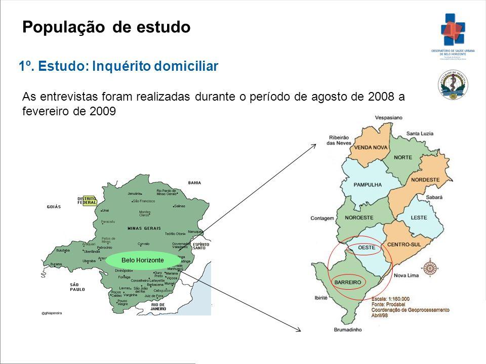 Belo Horizonte População de estudo 1º. Estudo: Inquérito domiciliar As entrevistas foram realizadas durante o período de agosto de 2008 a fevereiro de