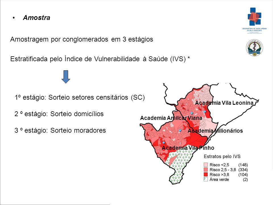 Amostra Amostragem por conglomerados em 3 estágios Estratificada pelo Índice de Vulnerabilidade à Saúde (IVS) * Academia Vila Leonina Academia Milioná
