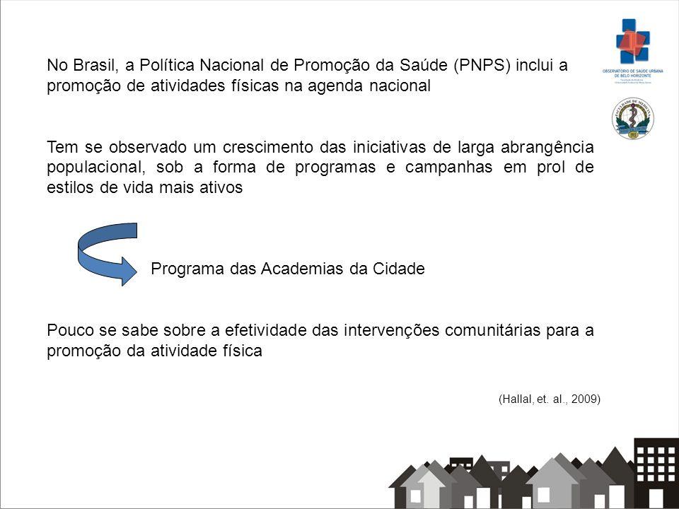 No Brasil, a Política Nacional de Promoção da Saúde (PNPS) inclui a promoção de atividades físicas na agenda nacional Tem se observado um crescimento