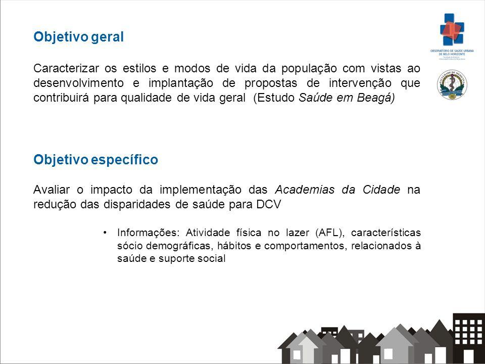 Objetivo geral Caracterizar os estilos e modos de vida da população com vistas ao desenvolvimento e implantação de propostas de intervenção que contri